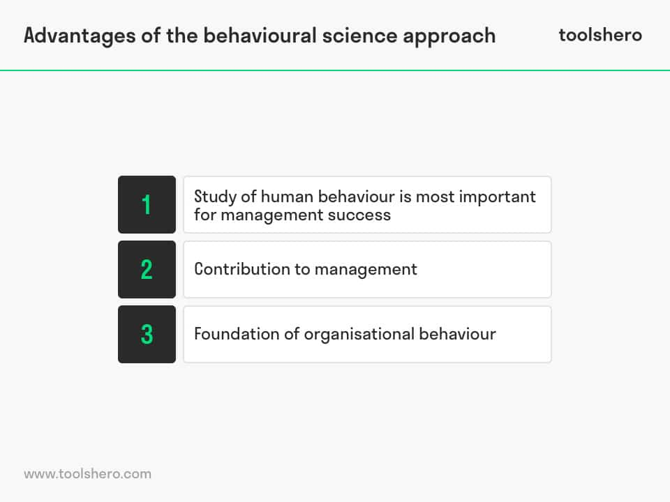 Behavioural Science Approach to management advantages - toolshero